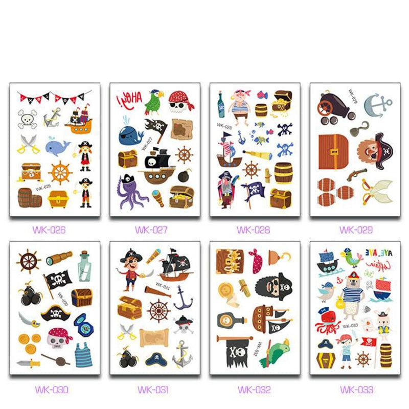 10 Sheets/Set Kids Pirate Tattoo & Pirate Sticker Set
