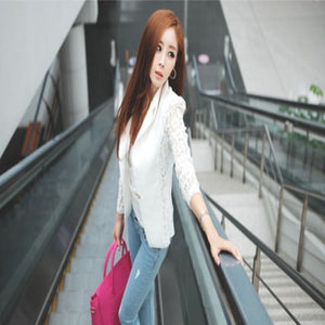 2019 New Hot sale Fashion Sexy Women Silm Long Sleeve Lace Crochet Small Jacket    Spring Open Stitch FEMALE coat