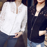 New Women's Fashion Hollow Floral Lace Zipper Pocket Casual Short Jacket Coat Top