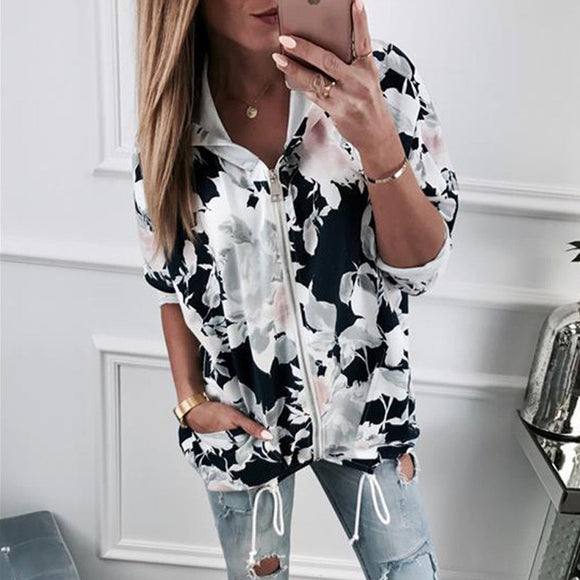 Autumn Fashion Women Long Sleeve Printed Hooded Jacket Zip Up Flower Coats Floral Print Hoodie Casual Female Top Coat Outwear