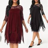 GUMNHU Plus Size Chiffon Dresses Women New Fashion Chiffon Overlay Three Quarter Sleeve Stitching Irregular Hem Lace Dress