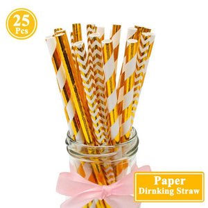 Heronsbill 25pcs Decorated Paper Drinking Straws