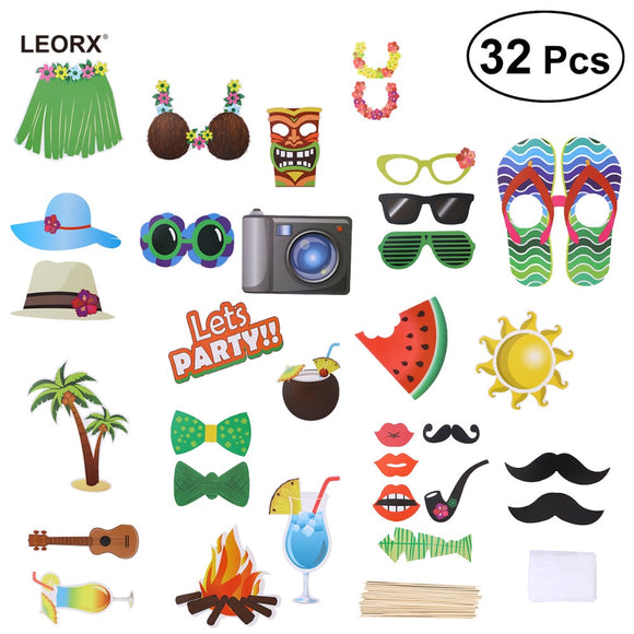 32pcs Toy hat for Luau Photo Kids Party Hawaiian Party Cap for Summer Beach Pool Luau Kids Party Decor DIY Kit Hat