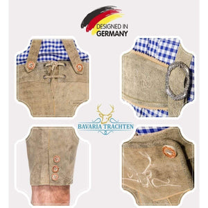 Oktoberfest Lederhosen Men - German Authentic Men_s Real Genuine Leather