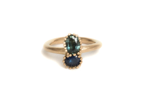 engagement ring 18ct yellow gold sapphires