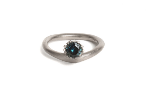 Engagement ring 18ct white gold Australian sapphire