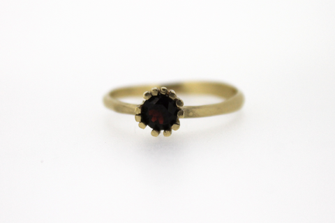 gold engagement ring with ruby