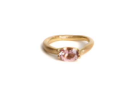 18ct yellow gold engagement ring with pink tourmaline