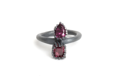 silver engagement ring with garnets