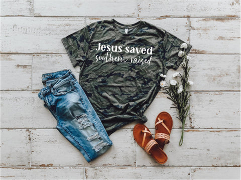 Jesus Saved Southern Raised Lady Tee