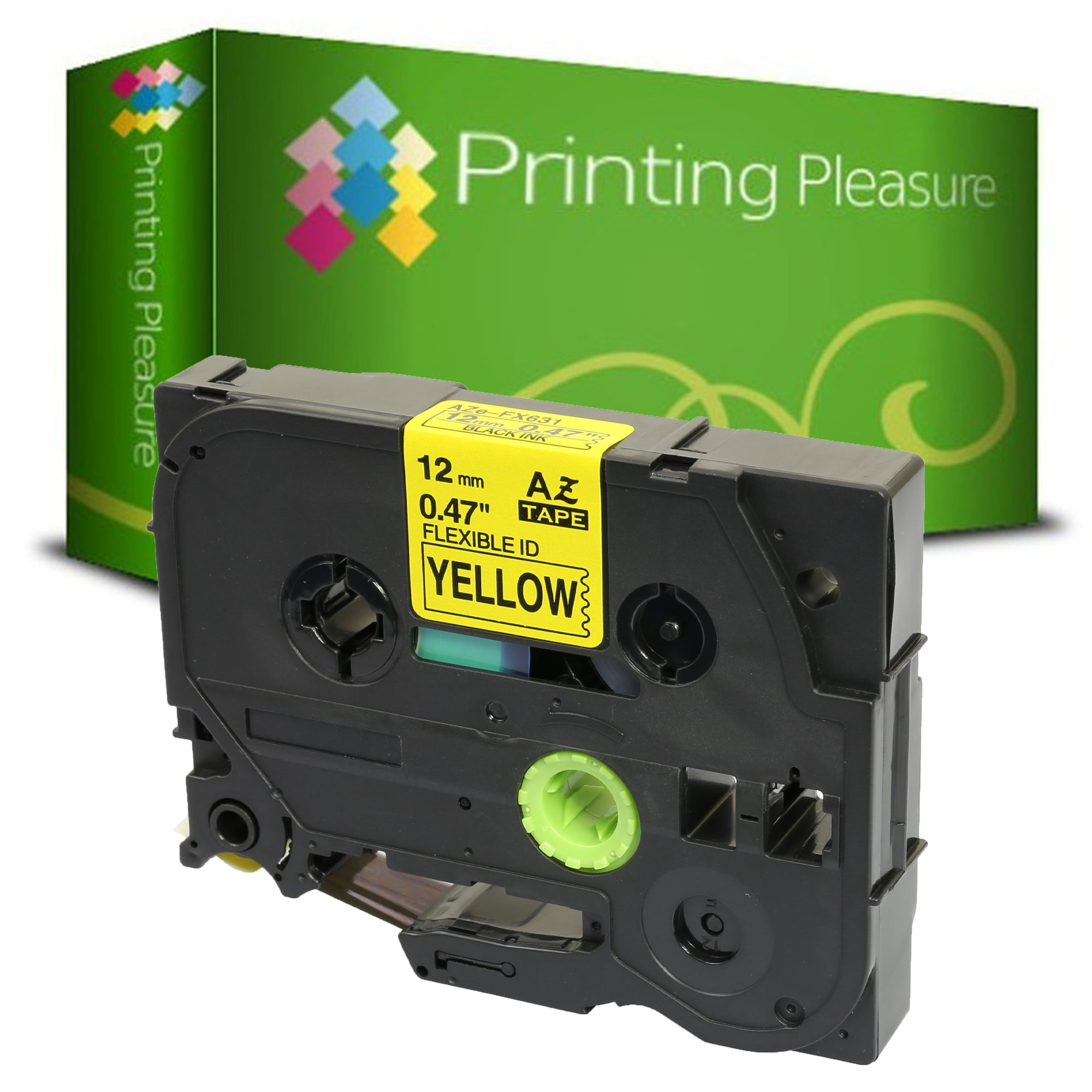 TZeFX631 Black on Yellow (12mm x 8m) Flexible Tape compatible with Brother P-Touch - Printing Pleasure