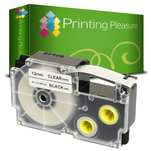 Compatible XR-12X Black on Transparent (12mm x 8m) Tape for Casio - Printing Pleasure