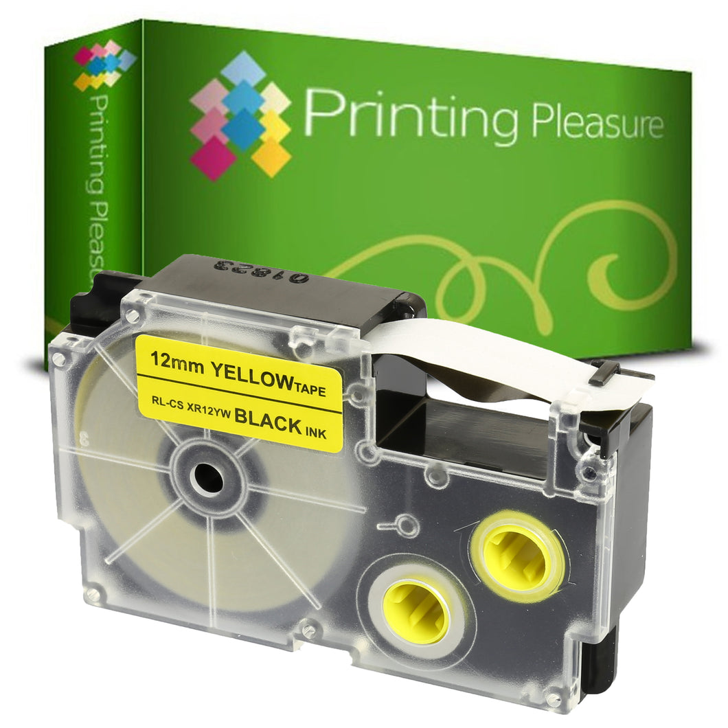 Compatible XR-12YW Black on Yellow (12mm x 8m) Tape for Casio - Printing Pleasure