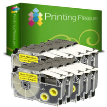Load image into Gallery viewer, Compatible XR-12YW Black on Yellow (12mm x 8m) Tape for Casio - Printing Pleasure