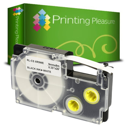 Compatible XR-9WE Black on White (9mm x 8m) Tape for Casio - Printing Pleasure