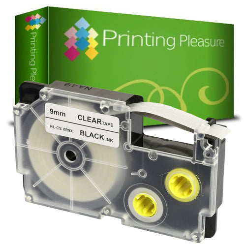 Compatible XR-9X Black on Transparent (9mm x 8m) Tape for Casio - Printing Pleasure