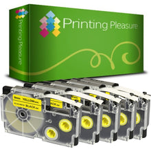 Load image into Gallery viewer, Compatible XR-9YW Black on Yellow (9mm x 8m) Tape for Casio - Printing Pleasure