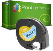 Load image into Gallery viewer, Compatible with Dymo LetraTag Black on Blue Drop (12mm x 4m) Plastic Label Tape - Printing Pleasure