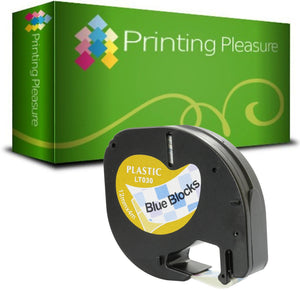 Compatible with Dymo LetraTag Black on Blue Blocks (12mm x 4m) - Printing Pleasure