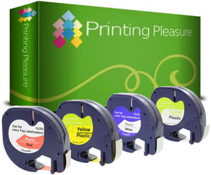 Compatible with Dymo LetraTag (12mm x 4m) Plastic Label Tapes - Printing Pleasure