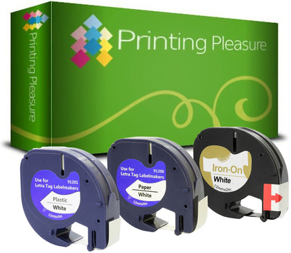 Compatible Label Tapes for Dymo LetraTag Plastic, Paper, Fabric - Printing Pleasure