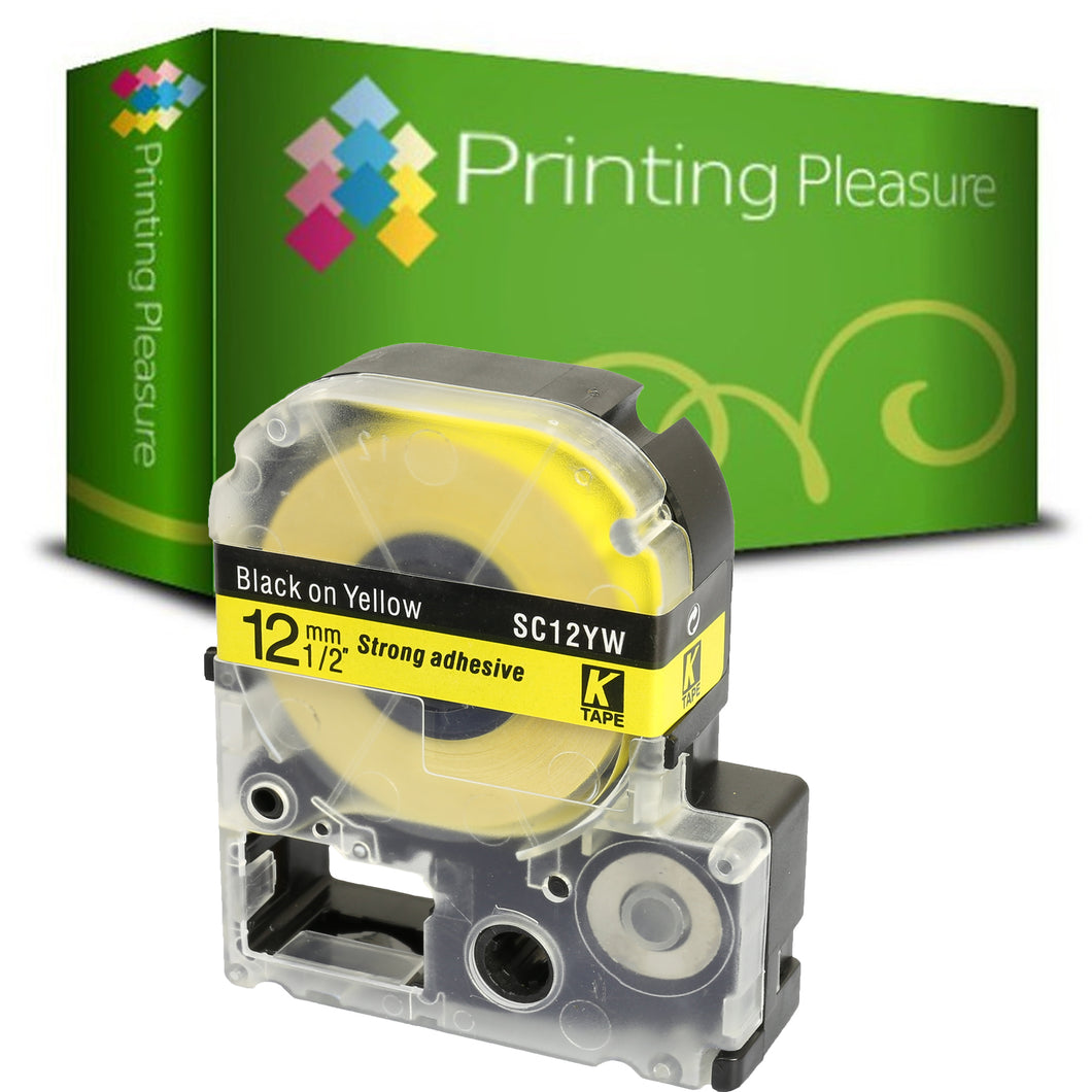 Compatible AC12YW Black on Yellow (12mm x 8m) Tape for Epson - Printing Pleasure