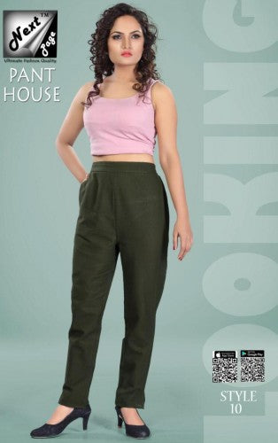 PP121 - Plazzo Pant Heavy Cotton Green color (Non-stretchable)