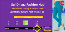 Load image into Gallery viewer, Comfort Lady Kurti Pants (Plus Size Pack of 2) - Rs 399/pc (Save 250 Rs overall)