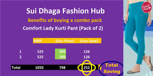 Comfort Lady Kurti Pants (Plus Size Pack of 2) - Rs 399/pc (Save 250 Rs overall)