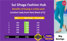 Load image into Gallery viewer, Comfort Lady Kurti Pants (Free Size Pack of 5) - Rs 350/pc (Save 745 Rs overall)