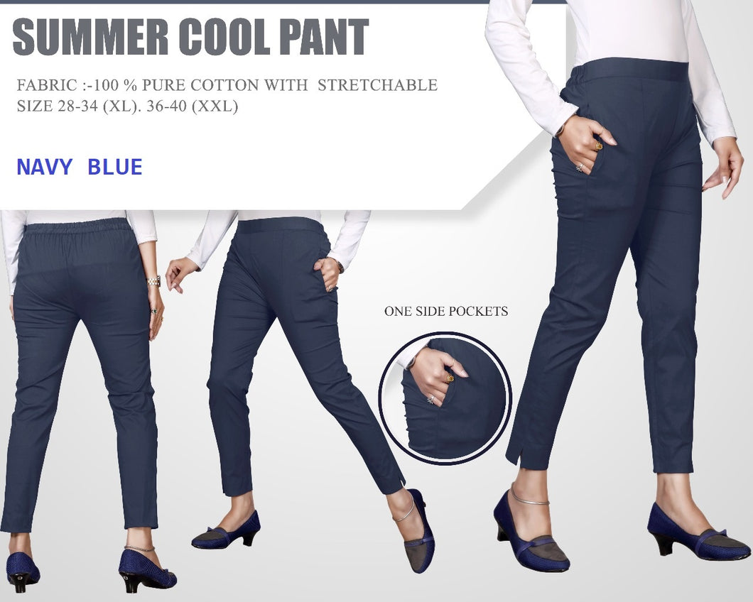 PP102 - Plazzo Pant Summer Cool Fabric Navy Blue color