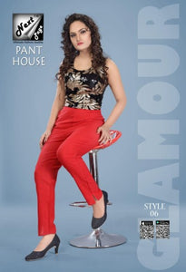 PP123 - Plazzo Pant Heavy Cotton Red color (Non-stretchable)