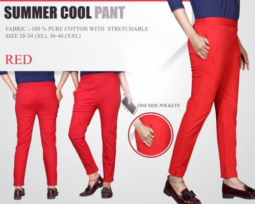 PP105 - Plazzo Pant Summer Cool Fabric Red