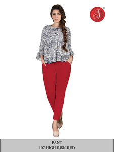 PP145 - Cotton Stretchable Pant Red color
