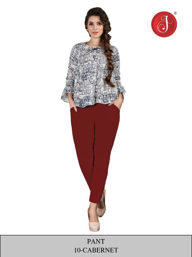 PP146 - Cotton Stretchable Pant Maroon color.