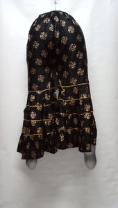 PL116 - Gharara Plazzo Black color with foil printing.