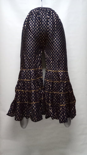 PL117 - Gharara Plazzo Black color with foil printing