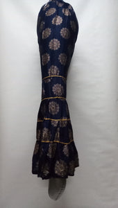 PL119 - Gharara Plazzo Navy Blue color with foil printing