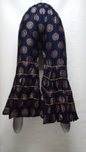 Load image into Gallery viewer, PL119 - Gharara Plazzo Navy Blue color with foil printing