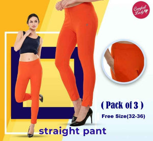 Comfort lady Straight Pants (Free Size) (Pack of 3)
