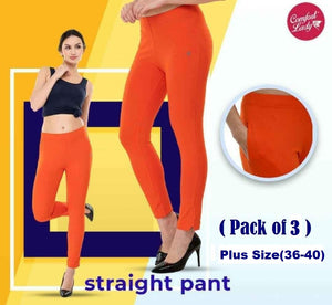 Comfort lady Straight Pants (Plus Size) (Pack of 3)