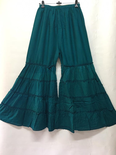 PL109 - Gharara Plazzo Peacock/Rama solid color