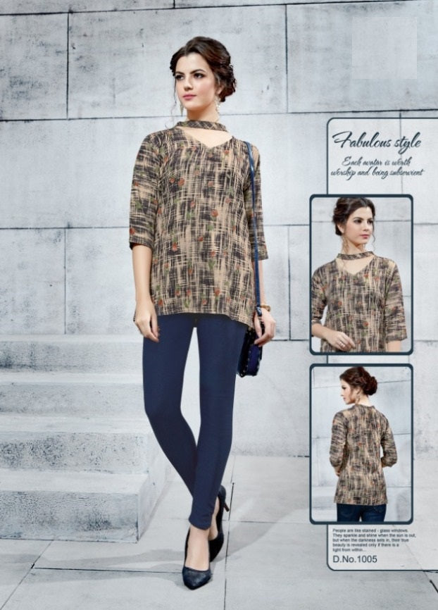 TP0404(M)07 - Stylish Rayon Print Top