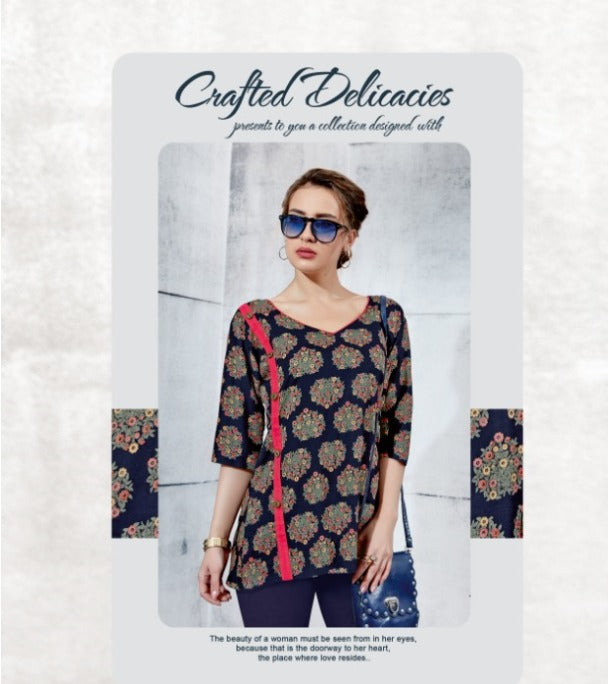 TP0404(M)01 - Stylish Rayon Print Top