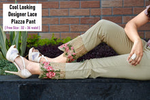 Load image into Gallery viewer, PL114 - Heavy Lace Embroidery Plazzo Pant
