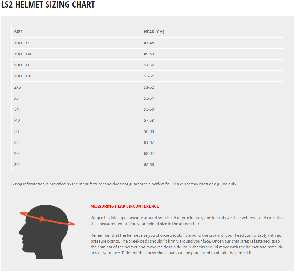 LS2 Helmets Size Guide