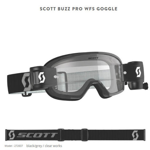 Buzz MX Pro Goggle WFS Black Grey Clear wks lens