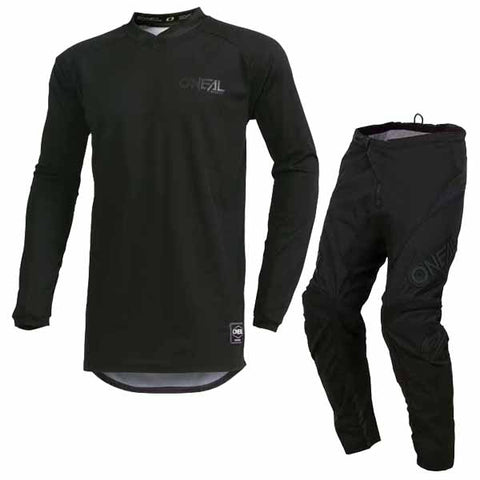 Oneal Element offroad/dirt jersey and pants in Classic Black colourway for adults and youth