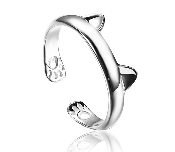 Women's 925 Sterling Silver Rings Simple Cute Cat