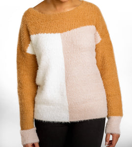 Colorblock Fuzzy Sweater